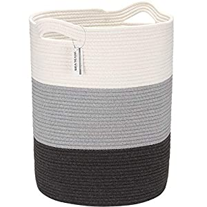 Sea Team Large Size Cotton Rope Woven Storage Basket with Handles, Laundry Hamper, Fabric Bucket, Drum, Clothes Toys Organizer for Kid's Room, 20 x 14 inches, Round Open Design