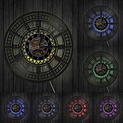 XYLLYT Big Ben Reloj de Pared con Disco de Vinilo Retro London London Westminster lámpara Que no Hace tictac lámpara de Pared LED lámpara de Pared de Reloj para Regalo de Viajero de Londres