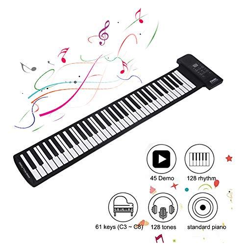 Tosuny Toetsenbord Piano, Toetsenbord Pianotoetsen Opvouwbaar 61 Toetsen 128 Tonen 128 Ritmes 45 Demosongs, Zacht Flexibel Elektronisch Pianotoetsenbord Flexibele Beginners Kinderen Oefenen Muziekinstrumenten