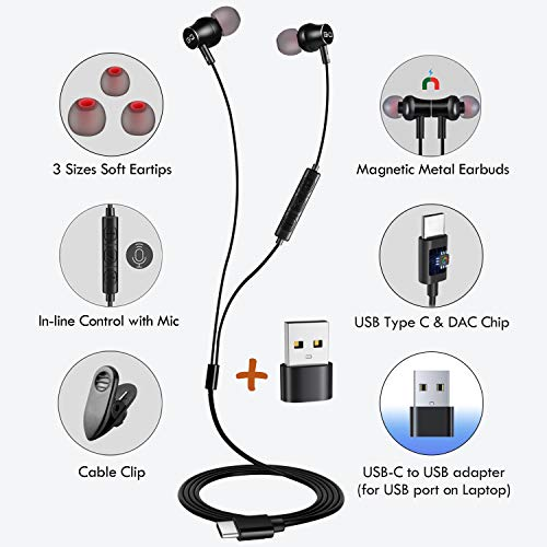 USB C Earbuds Headphones with Mic