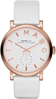 Marc by Marc Jacobs Baker Women's White Dial Leather Band Watch - MBM1283