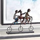 Universal Lighting and Decor Children Riding Bike 12 3/4' Wide Sculpture - Dahlia Studios