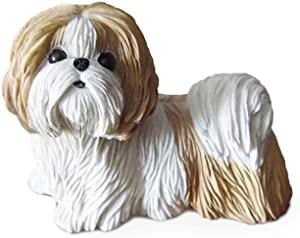 Pet Dog Decoration Statue, Shih Tzu Garden Decoration Animal Model Car Crafts Dog Decoration Home Decoration H2.3In,Yellow and White