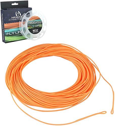 MAXIMUMCATCH ECO Fliegenschnur mit geschweißtenSchlaufen, WF Schwimmschnur, 100ft, WF3F/4F/5F/6F/7F/8F, Orange/Moss grün/Gelb Farbe auszuwählen