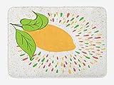 ABAKUHAUS Limón Tapete para Baño, Colorido Verano Imprimir, Decorativo de Felpa Estampada con Dorso Antideslizante, 45 cm x 75 cm, Anaranjado pálido Verde Lima