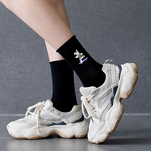 MIWNXM 10 Pares Frilly Socks Cartoon Animal Print Rabbit Cute Funny Kawaii Woman Harajuku  Women Cotton Sokken Sock