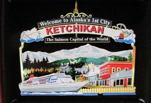 Ketchikan Alaska Christmas ORNAMENT Cruise Ship Salmon Town