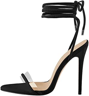 Yolkomo Women's Ankle Strap Lace up Clear Band Gladiator High Heels Open Toe Stiletto Sandals