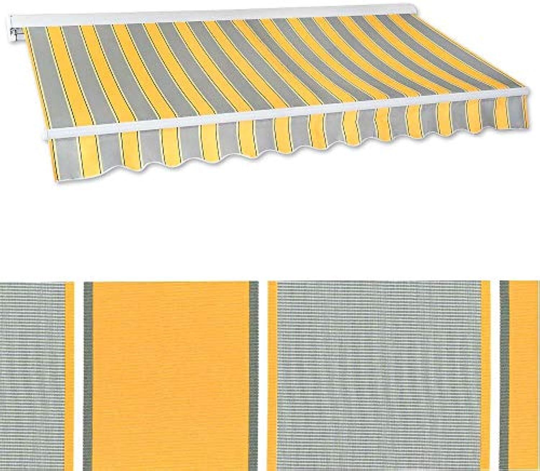 Jawoll Kassetten-Markise 2,0 x 1,5 m Gelb-Grau (Profilfarbe  Wei) Sonnenschutz Alu Markise Schattenspender Sonnensegel Hülsenmarkise Gelenkarm-Markise Halbkassette