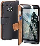 MoEx Premium 360° Protection Set Compatible con HTC One M8 / M8s | Protección del teléfono [Bolsa + lámina] Cubierta en Ambos Lados con Tapa y Diapositiva, Gris foncé