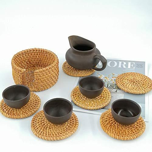 Mopoin Glasuntersetzer, Rattan Untersetzer Handgefertigt Geflochtene Rund Getränkeuntersetzer Holz für Tee, Kaffee, Getränke, Teekanne (10cm) 6 Stück - 6