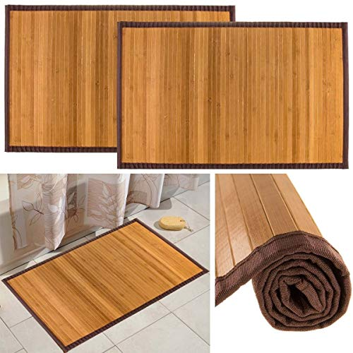 "Bamboo (2 Pack) Non Skid Water Resistant Bath Floor Mats Non Slip Shower Bathroom Rugs, 21"" x 34"""