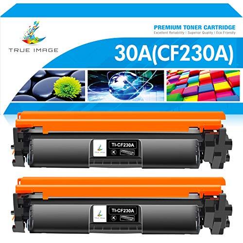 True Image Compatible Toner Cartridge Replacement for HP 30A CF230A 30X CF230X Laserjet Pro MFP M227fdw M203dw M227fdn M203d M203dn (Black, 2-Pack)
