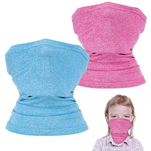 2 Pack Kids Neck Gaiter, Cooling Face Cover for Kids, Face Scarf Bandana for Boys and Girls Fishing Hiking Cycling, Blue&Pink