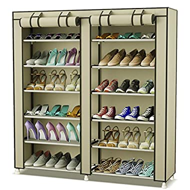 TXT&BAZ 36-Pairs Portable Shoe Rack Double Row with Nonwoven Fabric Cover (7-Tiers Beige)