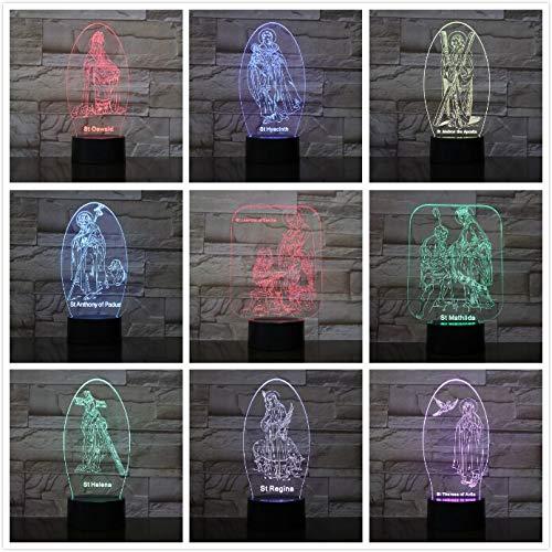 Cristiano Jesús Discípulo Mamá Madre Historias bíblicas 3D LED Luz de noche USB Lámpara de mesa Niños Regalo de cumpleaños Decoración del hogar junto a la cama