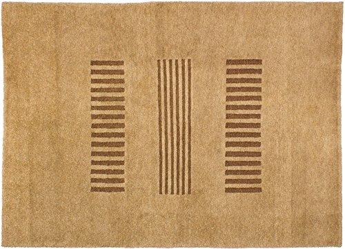 Teppich Tibeter ca. 145 x 195 cm Braun handgeknüpft Schurwolle Modern hochwertiger Teppich