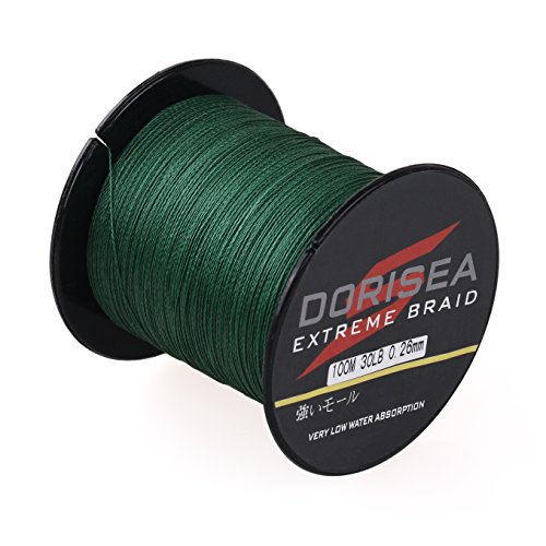 Dorisea Extreme Braid 100% Pe Braided Fishing Line 109Yards-2187Yards 6-300Lb Test Moss Green (300m/328Yards 10lb/0.14mm)
