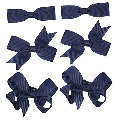 3 paires d'école nœuds pour petite gros-grain de cheveux Clips Accessoires Cheveux uniforme