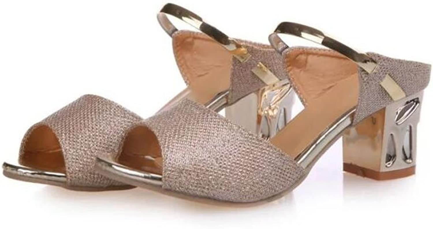 Women's shoes Nubuck Leather Spring Fall Basic Pump Sandals Block Heel for Casual gold Silver