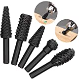 OIIKI 5 PCS Woodworking Twist Drill Bits, Wood Carving File Rasp Drill Bit, with 1/4' Shank Tool Rasp Chisel Shaped Rotating Embossed Grinding Head