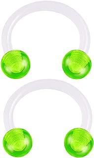 2pcs 16g 5/16 Horseshoe Earrings Bioflex Flexible Septum Cartilage Hoop Lip Tragus Eyebrow Helix Acrylic Ball - Pick Color