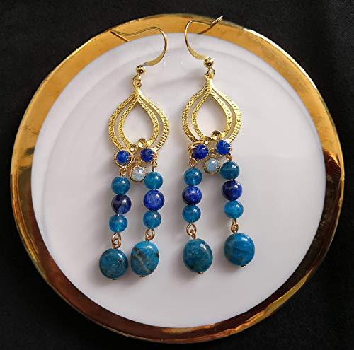 Indian Initiation Serie de Civilizaciones Antiguas de 2020 Pendiente artesanal de apatita azul y cianita y jade azul y aguamarina facetada en ganchos chapados en oro