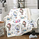 Kids Sherpa Blanket Aircraft Hot Air Balloon Fleece Throw Blanket for Kids Boys Girls Cartoon Airplane Plush Blanket Hypoallergenic Fuzzy Blanket for Sofa Bed Couch Twin 60x80 Inch