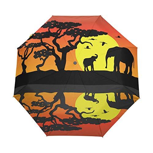 Emoya Reise-Regenschirm Elefanten Afrika Wasser Mond Orange Winddicht Baldachin Automatik Öffnen/Schließen Regenschirm kompakt