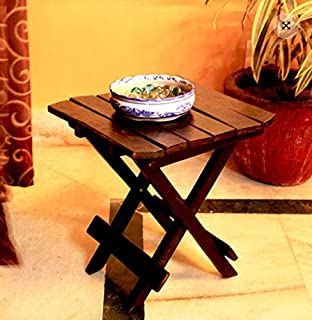 PEBBLECRAFTS Wooden Folding Table for Living Room12x12x12 Inch Coffee Table Tea Table- Mango Wood (Black)