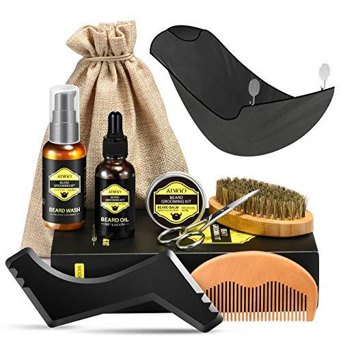 Kit Cuidado Barba Hombre, ATMOKO 9PCS Barba Peine, Barba Cepillo, Barba Aceite 30g, Barba Champú 60ml, Bálsamo Barba 30g, Tijera Barba, Barba Delantal, Modelo de forma de barba, Mejor Regalo (9)