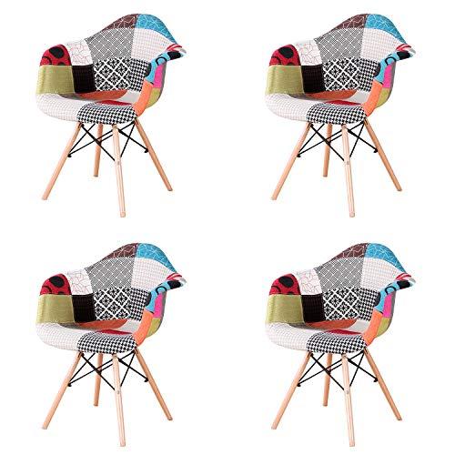 ArtDesign FR Lot de 4 Chaises de Salle à Manger avec Accoudoirs Housse en Tissu Patchwork pour Salle à Manger Bureau Salon (Red)