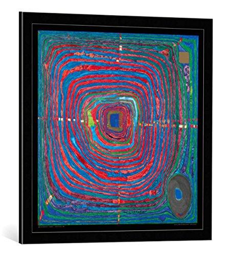 kunst für alle Bild mit Bilder-Rahmen: Friedensreich Hundertwasser Der Grosse Weg - dekorativer Kunstdruck, hochwertig gerahmt, 67x67 cm, Schwarz/Kante grau