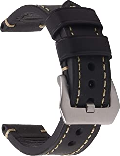 thick black leather watch band