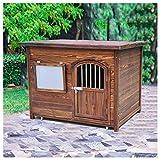 TYX Casetas Perros Exteriores, Parte Superior Plana Impermeable Casa Madera Perros Caseta Perro, Refugio Perros Jardín Animales Pequeños Fácil Limpieza,110×80×75cm