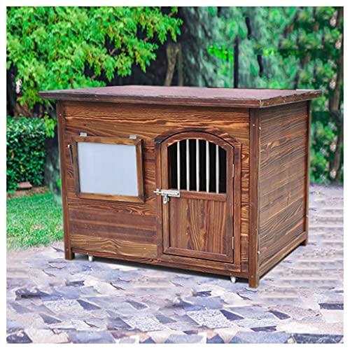 TYX Casetas Perros Exteriores, Parte Superior Plana Impermeable Casa Madera Perros Caseta Perro, Refugio Perros Jardín Animales Pequeños Fácil...