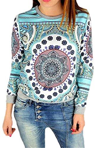 AILIENT Sweatshirts Damen Rundhals Locker Casual Bluse mit Blumenprint Bluse Klassic Langarmshirt Print Floral Hemd Blusenshirt Loose Fit Baumwolle Tops