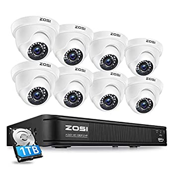 ZOSI 1080P H.265+ Home Security Camera System,5MP Lite 8 Channel Surveillance DVR with Hard Drive 1TB and 8 x 1080p Weatherproof CCTV Dome Camera Outdoor Indoor with 80ft Night Vision Motion Alerts
