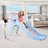 WELSPO Freestanding Slides for Kids, Baby Slide Indoor/Outdoor Climber Toddler Slide with Basketball Hoop&Ball, Kids Slides for Backyard Easy Setup (Blue+Grey)