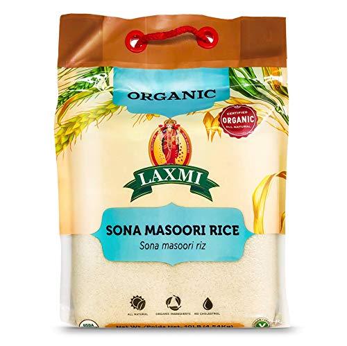 Laxmi Organic Sona Masoori Rice, All Natural, Organic Ingredients, No Cholesterol, USDA Organic, Vegetarian, 10lb (White Rice)