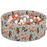 KiddyMoon 90X30cm/200 Balles ∅ 7Cm Piscine À Balles pour Bébé Rond Fabriqué en UE, Renard-Vert:Orange/Menthe/Gris/Blanc