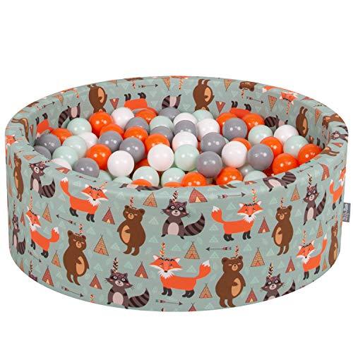 KiddyMoon Bällebad 90X30cm/200 Bälle ∅ 7Cm Bällepool Mit Bunten Bällen Für Babys Kinder Rund, Füchse-Grün:Orange-Mint-Grau-Weiß