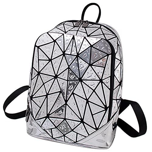 QIANJINGCQ, nuevos bolsos de rejilla de diamantes para exteriores, mochila de moda láser con gota de agua, mochila de rejilla caótica geométrica
