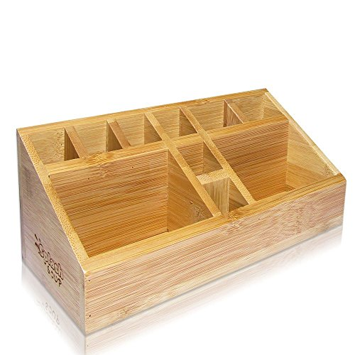 Small Multifunctional Bamboo Organizer | Desk Caddy | Home Office Accessory Tray | School Art Supply Holder | Pen Pencil Brush Compartment | Kitchen Bathroom Countertop Storage by SplashSoup