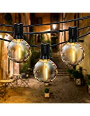 Fochea Lichtketting voor buiten, G40 globe led-lampen, lichtketting, tuin, IP44 waterdicht, voor Kerstmis, bruiloft, feest, buitendecoratie, warm wit