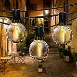 Guirnaldas Luces Exterior, FOCHEA 9.5M Cadena de Luz, Cadena de Bombillas G40 con 25 Globe LED Bombillas para Decoración Interior y Exterior para Jardín Patio Dormitorio Fiesta Navidad Bodas