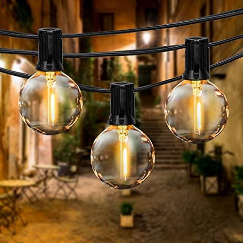 Guirnaldas Luminosas de Exterior,FOCHEA 9.5M Cadena de Luz, Cadena de Bombillas G40 con 25 Globe LED Bombillas para Decoración Interior y Exterior para Jardín Patio Dormitorio Fiesta Navidad Bodas