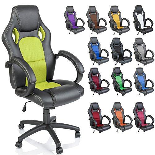 TRESKO Sedia da ufficio Poltrona ufficio Versione Racing 14 diferente colores, braccioli imbottiti, inclinazione, sollevare SGS testato (Verde chiaro)