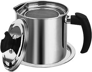 Recipiente Aceite Usado Cocina Grasa Para Olla De Aceite Con Filtro Colador De Acero Inoxidable Con Filtro De Malla, Para Tocino, Grasera Aceite Usado,1.3l