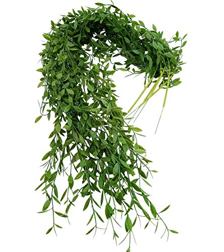 MZMing 5 Pack Artificial Ivy Leaf Garland Plants Vine Hanging Green Leaves Ivy Home Kitchen Garland Wall Decoration Silk Foliage Wedding Vines - Dark Green